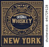 whiskey label with baroque... | Shutterstock .eps vector #641729128