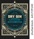 gin label with floral frame | Shutterstock .eps vector #641729140
