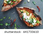 baked sweet potatoes with... | Shutterstock . vector #641733610