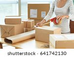 cropped image of woman wrapping ... | Shutterstock . vector #641742130