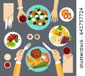 dinner table top view vector... | Shutterstock .eps vector #641757724