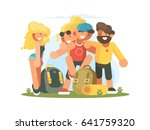 cheerful friends guys and girls | Shutterstock .eps vector #641759320
