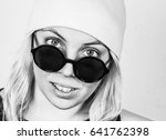 smiling beautiful hipster girl... | Shutterstock . vector #641762398