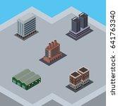 isometric urban set of... | Shutterstock .eps vector #641763340