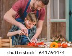 father in apron helping son...   Shutterstock . vector #641764474