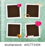 collage photo frame on vintage... | Shutterstock .eps vector #641771434