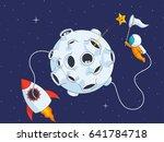 astronaut catch the star near...   Shutterstock .eps vector #641784718