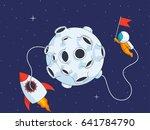 astronaut on lunar landing... | Shutterstock .eps vector #641784790