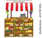 local fruits stall. fresh... | Shutterstock .eps vector #641787496