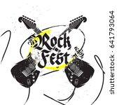 crossed guitars rock festival... | Shutterstock .eps vector #641793064