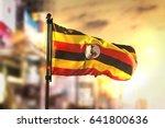 uganda flag against city... | Shutterstock . vector #641800636