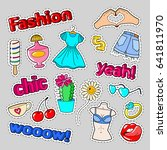 teenager fashion badges ... | Shutterstock .eps vector #641811970