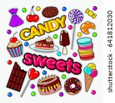 candy and sweet food doodle... | Shutterstock .eps vector #641812030