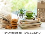coffee cup  open book  glasses  ... | Shutterstock . vector #641823340