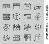 set of 16 parcel outline icons... | Shutterstock .eps vector #641831008