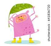 funny cute monster under rain.... | Shutterstock .eps vector #641836720