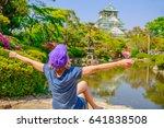 happy tourist enjoys in front...   Shutterstock . vector #641838508