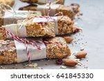 homemade granola energy bars... | Shutterstock . vector #641845330