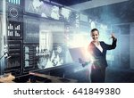 woman with laptop in hands.... | Shutterstock . vector #641849380