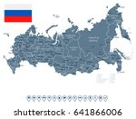 russia map and flag   highly... | Shutterstock .eps vector #641866006