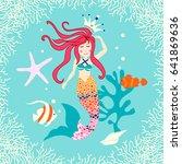 cute reef card with mermaid ...   Shutterstock .eps vector #641869636