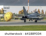 Small photo of 10 November 2016 Eurofighter Typhoon 2000 CSX7305 just landed at Turin Caselle Airport, Italy, with parachute to brake. Made by Leonardo Aircraft (Finmeccanica Alenia Aermacchi). Torino 07/12/2016
