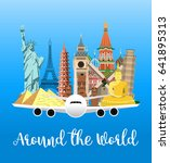 travel poster. travel and... | Shutterstock .eps vector #641895313