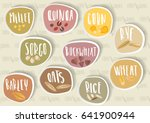 vector set of round cereal... | Shutterstock .eps vector #641900944