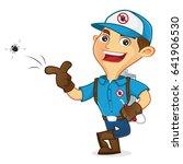 exterminator killing bug and...   Shutterstock .eps vector #641906530