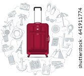 travel bag with the set of... | Shutterstock . vector #641911774