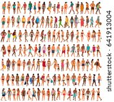 beach people large vector set | Shutterstock .eps vector #641913004