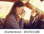 business woman having headache... | Shutterstock . vector #641921188
