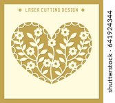 openwork square card with heart ... | Shutterstock .eps vector #641924344