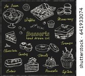 vector hand drawn desserts set. ... | Shutterstock .eps vector #641933074