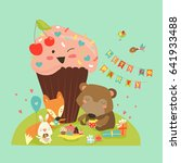 birthday background with happy... | Shutterstock .eps vector #641933488