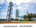Small photo of Alphabetic Tower on May 14, 2017 in Batumi. Amazing view from the Black sea.