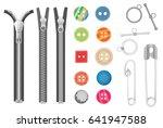 steel metal zipper and objects... | Shutterstock .eps vector #641947588