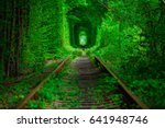 a railway in the spring forest... | Shutterstock . vector #641948746