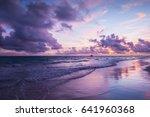 Colorful coastal landscape. Atlantic Ocean coast, Bavaro beach, Hispaniola Island. Dominican Republic