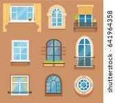 windows set in different styles ... | Shutterstock .eps vector #641964358