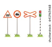 railway intersection signs ... | Shutterstock .eps vector #641965468
