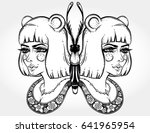 butterfly is drawn in a boho... | Shutterstock .eps vector #641965954