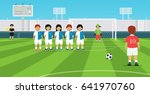 football free kick kicker with... | Shutterstock .eps vector #641970760
