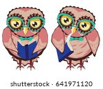 Cute Cartoon Stylized Owl With...