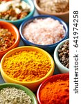spices in colorful bowls viewed ... | Shutterstock . vector #641974258