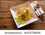 spaghetti pasta with pork and... | Shutterstock . vector #641978404
