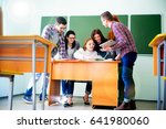 college students on a lecture | Shutterstock . vector #641980060