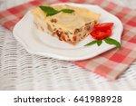 portion of tasty lasagna on... | Shutterstock . vector #641988928
