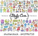 vector set with hand drawn... | Shutterstock .eps vector #641996710