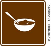 chocolate pudding in bowl with... | Shutterstock .eps vector #642005050
